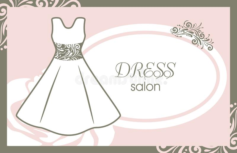 Dress salon. Card for fashion design royalty free stock photography
