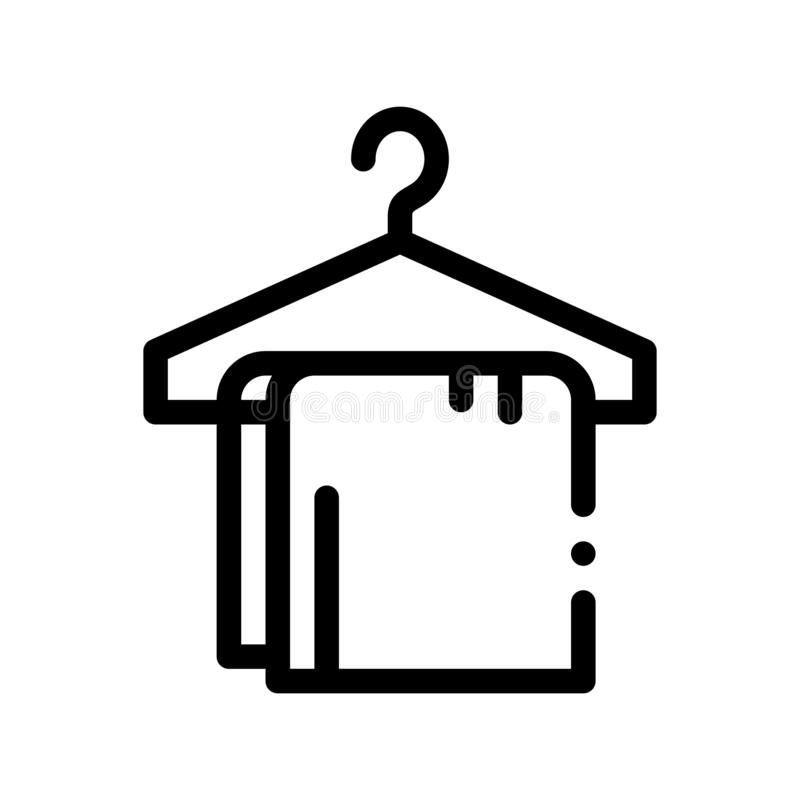 Dress Things On Hanger Vector Thin Line Sign Icon. Clothing On Hanger Hotel Performance Of Service Equipment Linear Pictogram. Business Hostel Items Monochrome stock illustration