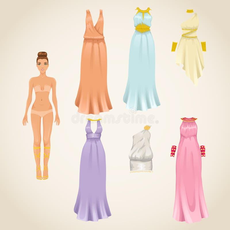 Dress up doll with greek dresses stock illustration