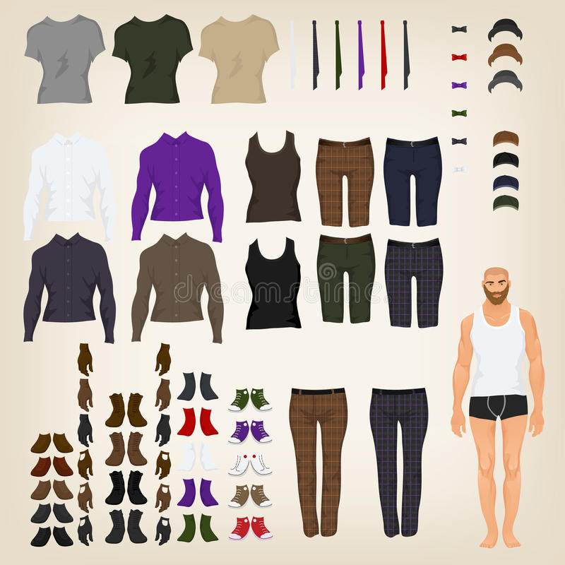 Download Dress Up Doll With Hipster Clothes Stock Vector Illustration Of Fashion Handsome