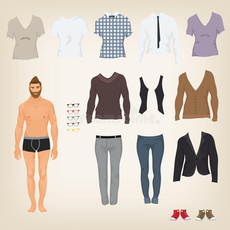 Dress up doll with hipster outfits. Hipster dress up doll with an assortment of hipster clothes vector illustration