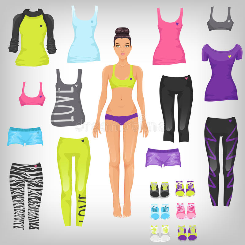 Dress up sporty paper doll stock illustration