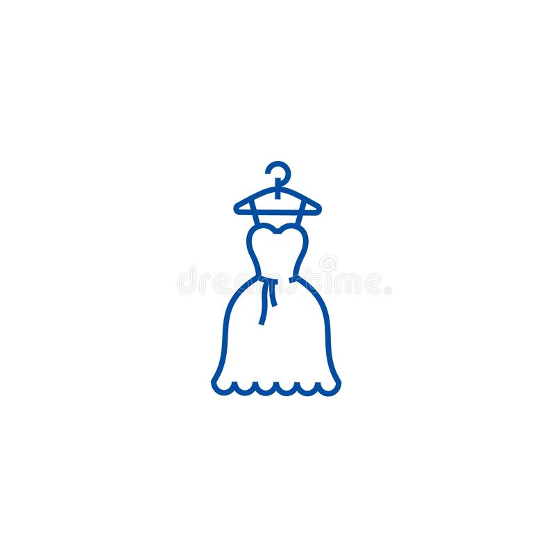 Dress wedding, ball gown line icon concept. Dress wedding, ball gown flat  vector symbol, sign, outline illustration. Dress wedding, ball gown line concept icon stock illustration