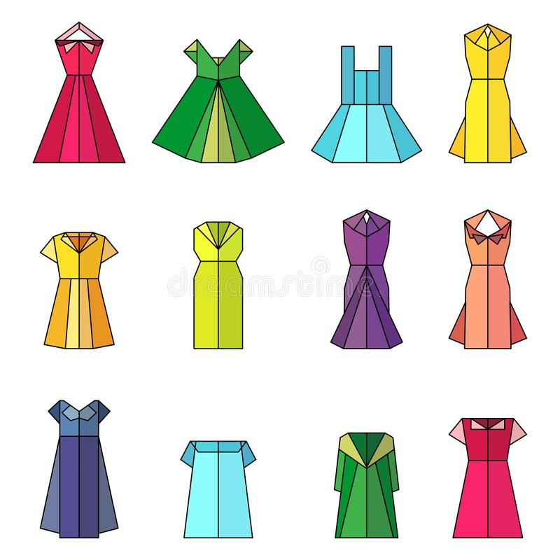 Dress Women Origami Stock Vector Illustration Of Background 101992866