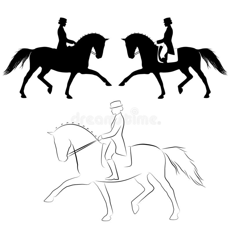 Dressage horse spanish trot. Set of three varations off dressage horse with rider performing spanish trot
