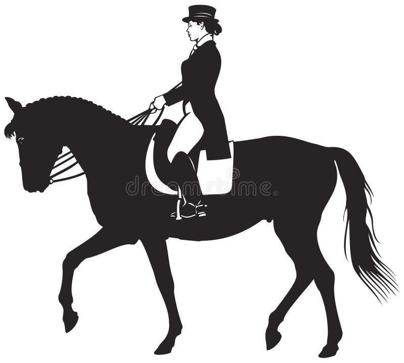 Dressage jeździec i koń royalty ilustracja