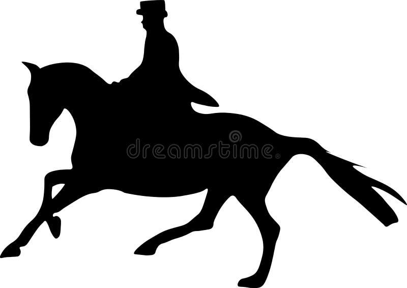 Dressage koń i jeździec sylwetka royalty ilustracja