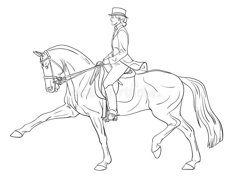 dressage konia kobieta royalty ilustracja