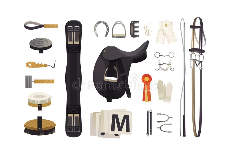 Dressage riding equipment, common horse grooming tools royalty free illustration
