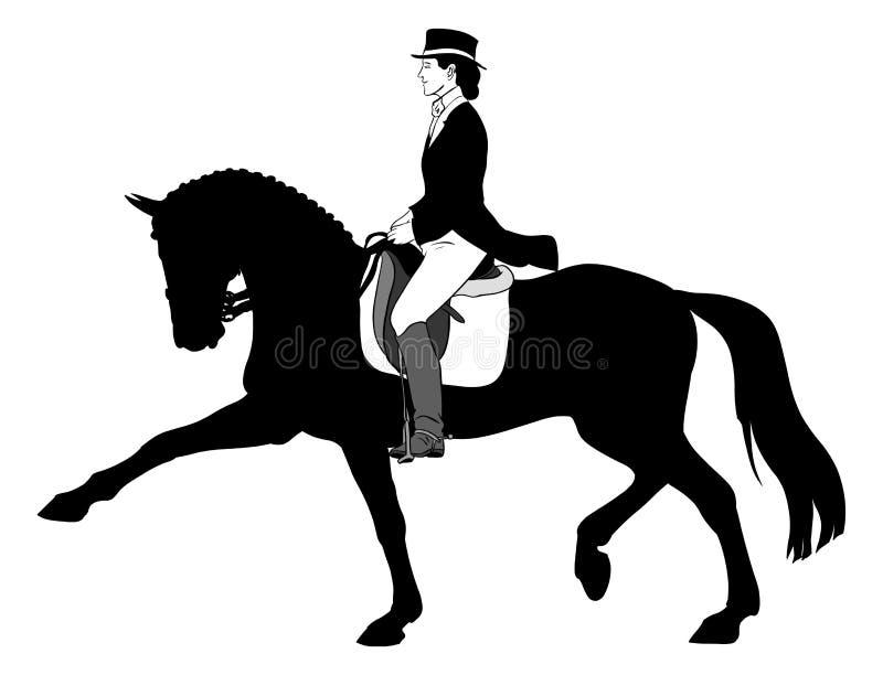 dressagehästkvinna stock illustrationer