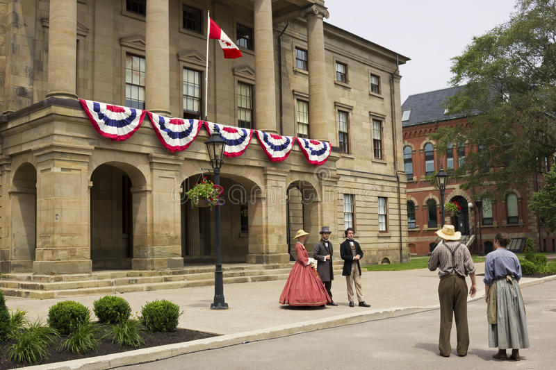 Dressed actors in front of the Province House in Charlottetown royalty free stock photo