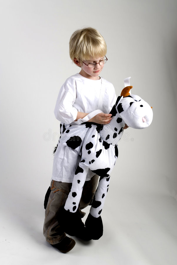 Dressed as a cow. A small boy is dressed as a black and white cow royalty free stock photography