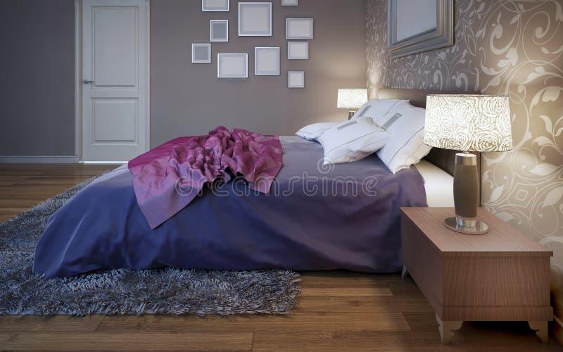 Dressed bed in pretty good bedroom. 3D render stock photos