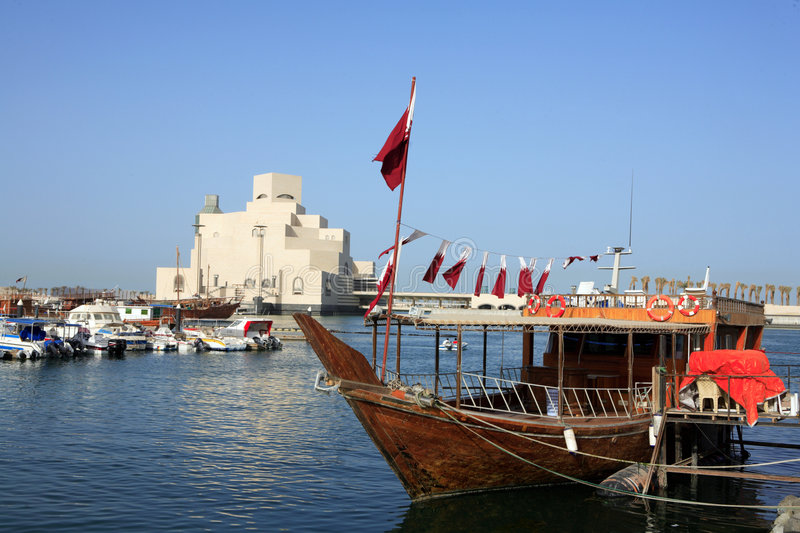 Dressed dhow and museum royalty free stock images