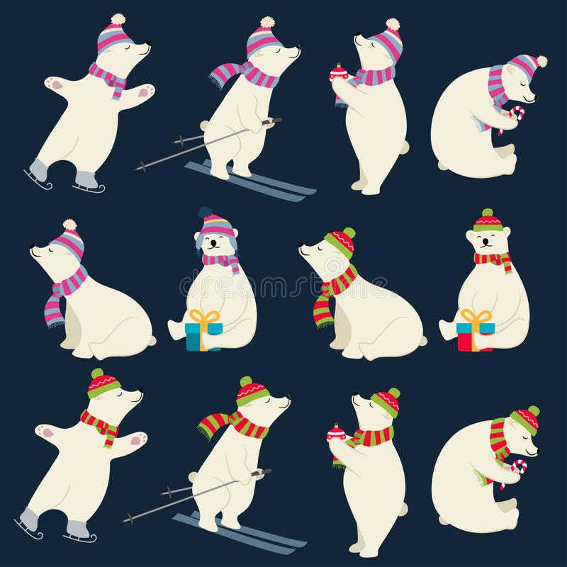 Dressed polar bears collection for Christmas designs. Isolated items. Flat design. Vector royalty free illustration