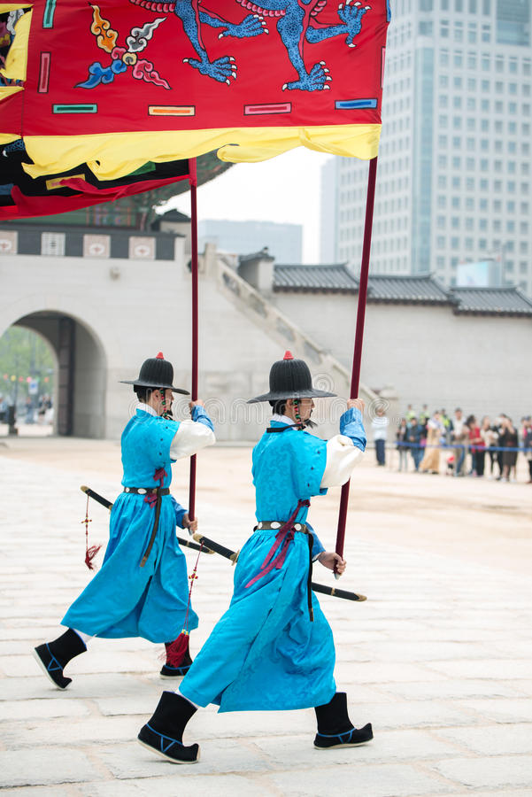 Dressed in traditional costumes from Gwanghwamun gate of Gyeongbokgung Palace Guards. Seoul, South Korea - April 22, 2016: Seoul, South Korea April 22, 2016 stock photo