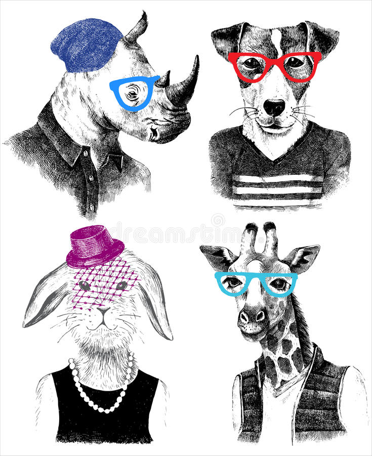 Dressed up animals set in hipster style. Hand drawn dressed up animals set in hipster style vector illustration