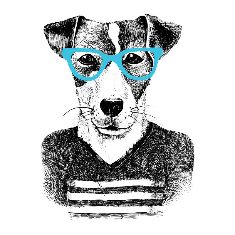 Dressed up dog in hipter style. Hand drawn dressed up dog in hipster style vector illustration