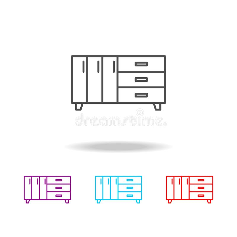 dresser icon. Elements of furniture in multi colored icons. Premium quality graphic design icon. Simple icon for websites, web des royalty free illustration