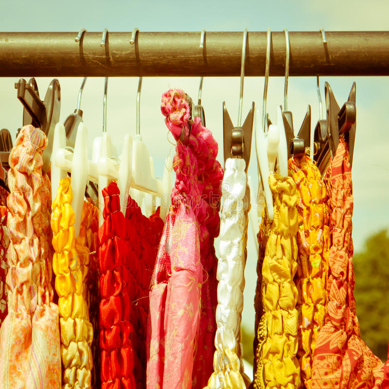 Dresses. Colorful dresses for sale at and english country market stock photography