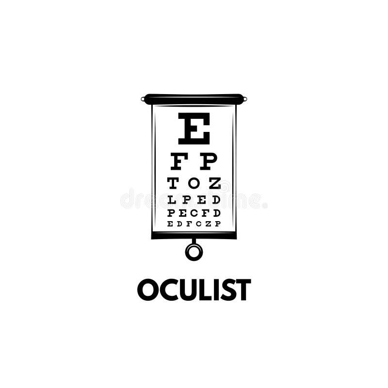 Dressez une carte la table d'essai avec des lettres pour l'examen d'oeil Essai de diagramme d'oeil pour le docteur d'ophtalmologu illustration stock