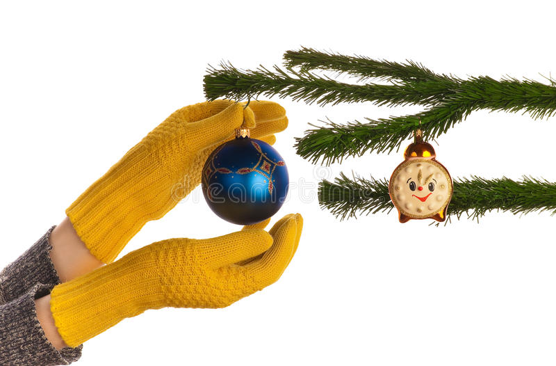 Dressing Christmas Tree Stock Image. Image Of Hand