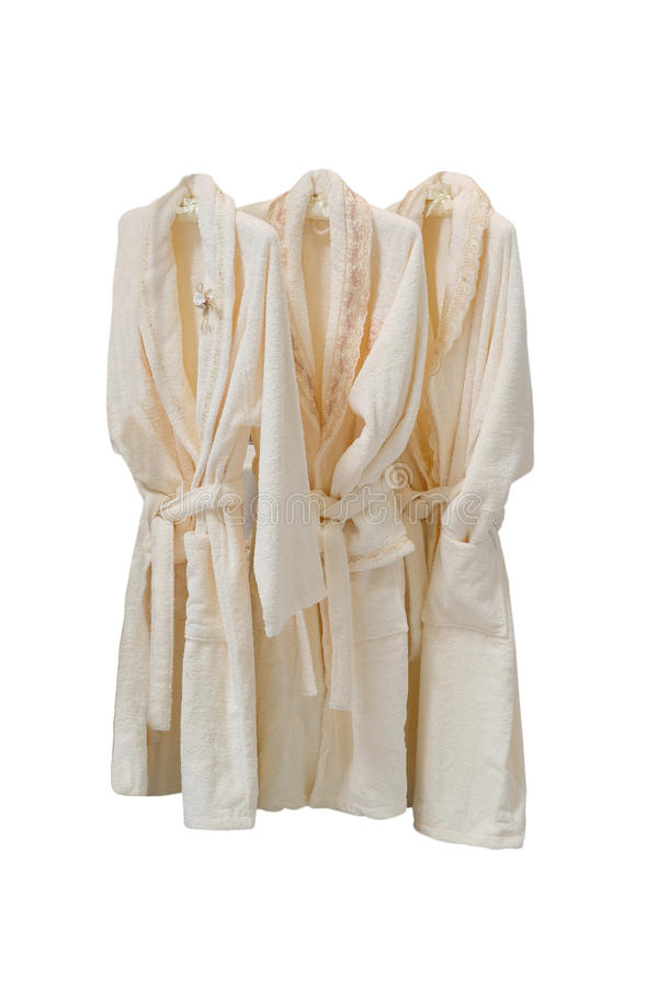 Dressing gowns on the hanger stock images
