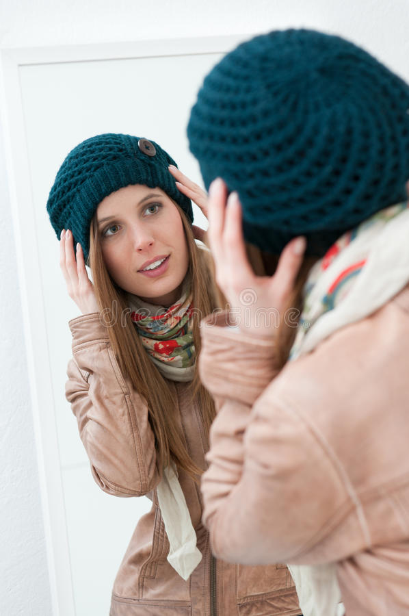 Download Dressing at mirror stock photo. Image of caucasian, autumn - 22453062