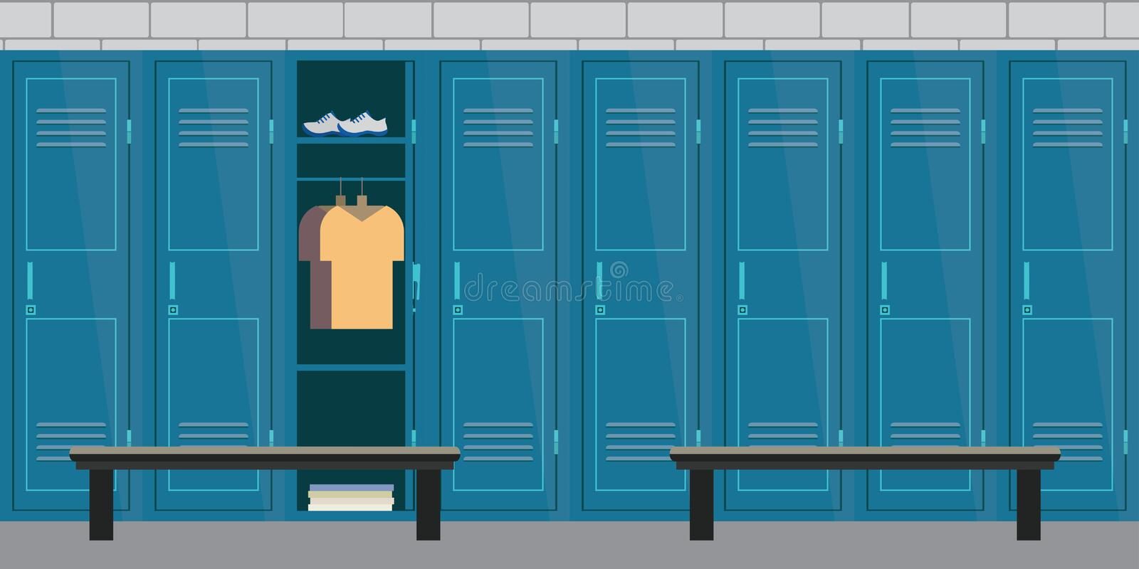 Dressing place a fitness club. Interior of a gym locker room. Dressing place a fitness club.Lockers with open door. Flat vector illustration royalty free illustration