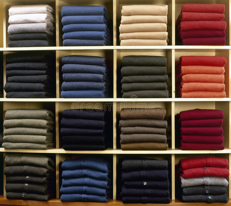 Dressing room with pullover stock photo