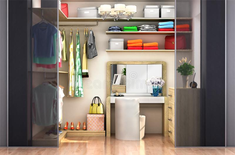 Dressing room for a woman. Wardrobe. royalty free illustration