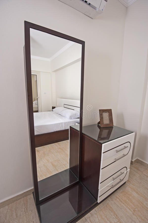 Dressing Table Chest Of Drawers In Apartment Bedroom Stock Image