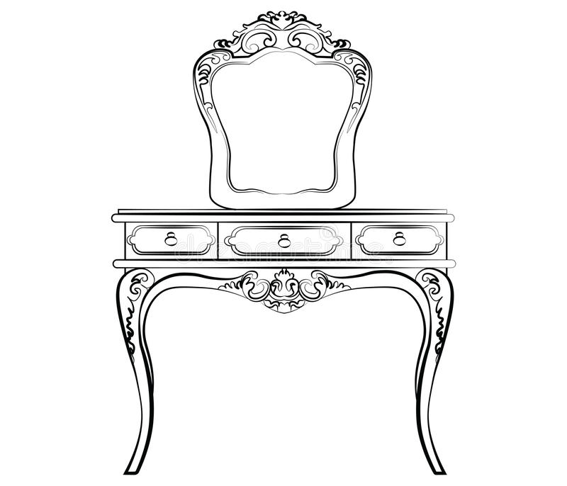 Dressing table with mirror royalty free illustration