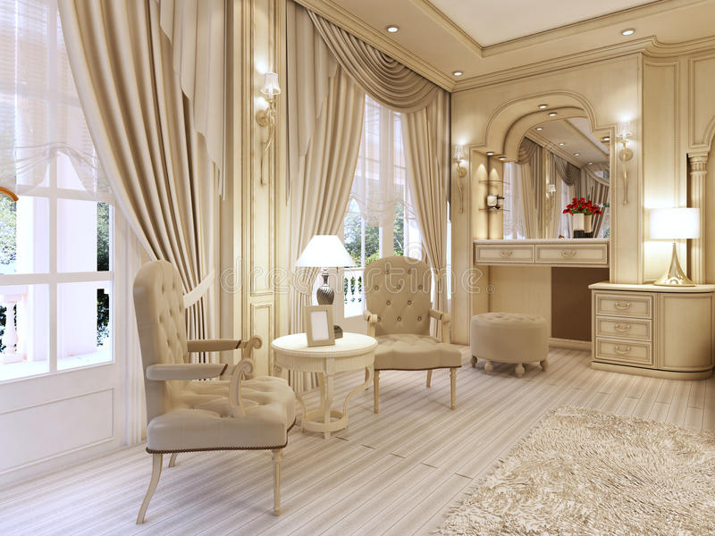 Dressing table and two chairs with a table lamp in classic luxury bedroom. royalty free illustration