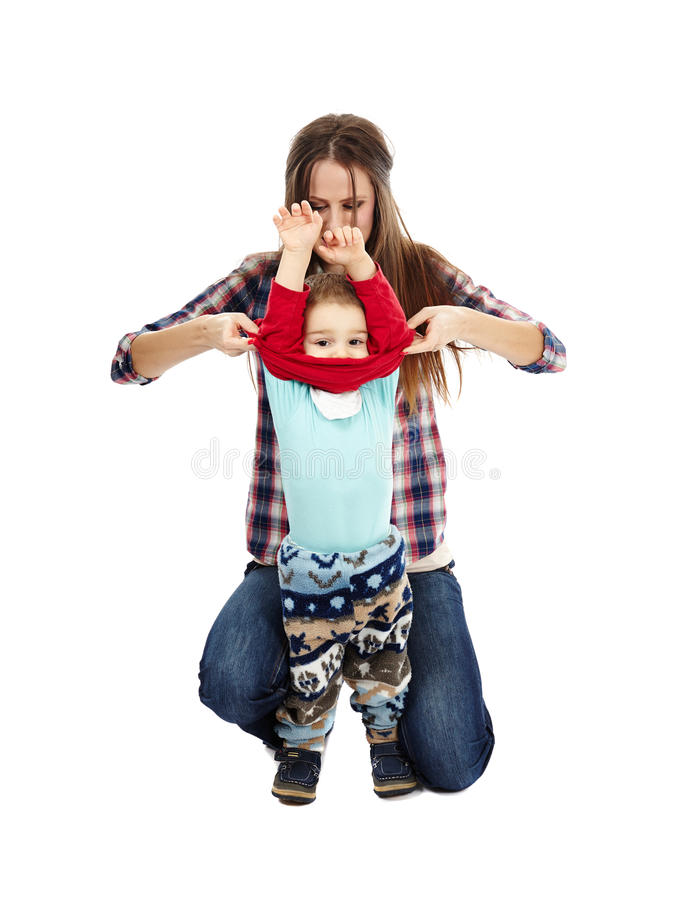 Download Dressing up the toddler stock photo. Image of care, family - 36936846
