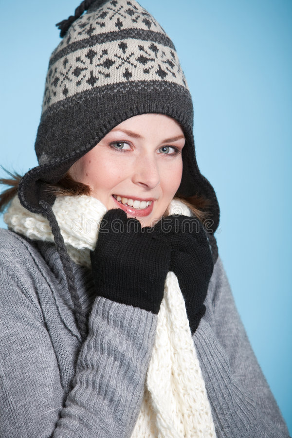 Dressing warm for winter royalty free stock photos