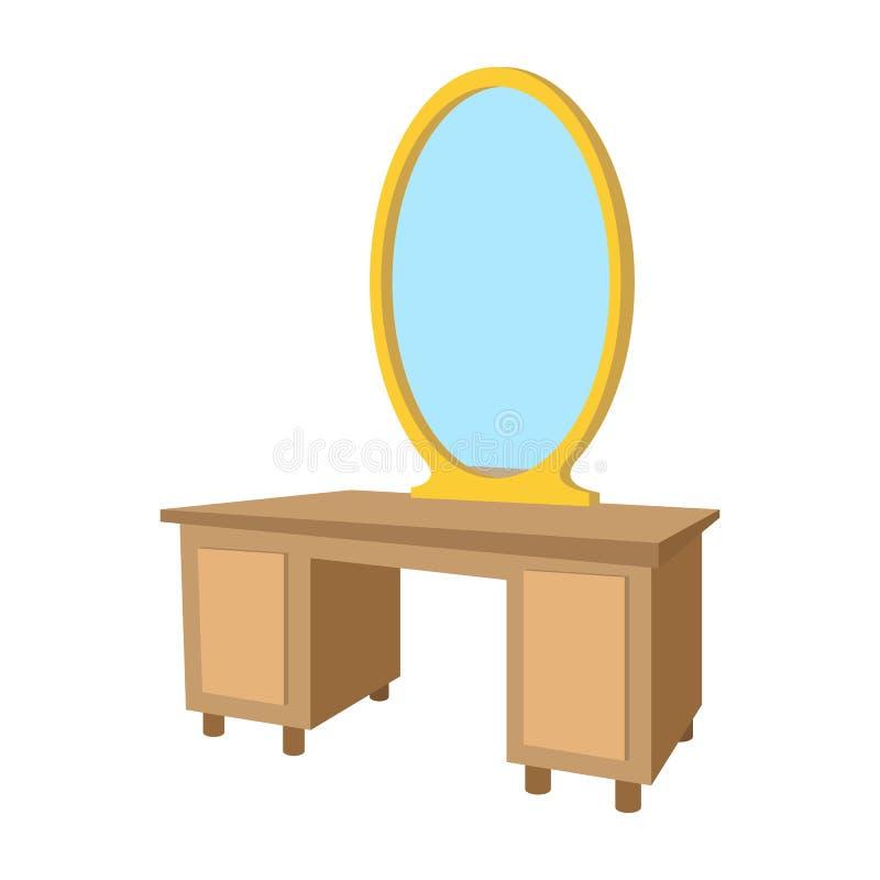 Dressingtabell med en spegeltecknad filmsymbol vektor illustrationer