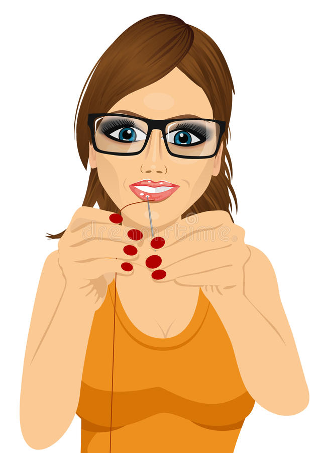 Dressmaker woman with glasses putting sewing thread. Portrait of young dressmaker woman with glasses putting sewing thread through needle vector illustration