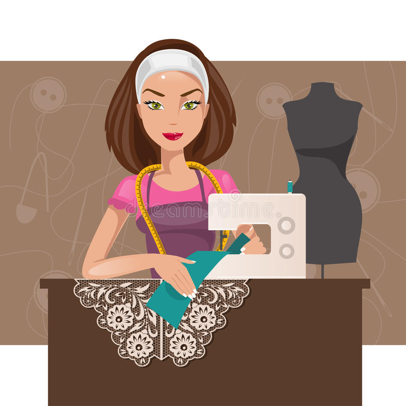 Dressmaker woman. Vector illustration. Cartoon seamstress in the studio working on the sewing machine vector illustration