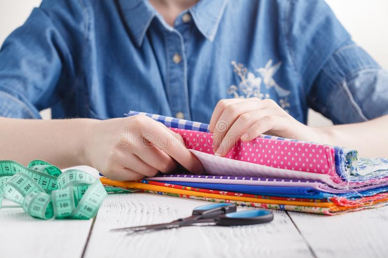 Dressmaking, creativity and sewing workshop concept stock photo