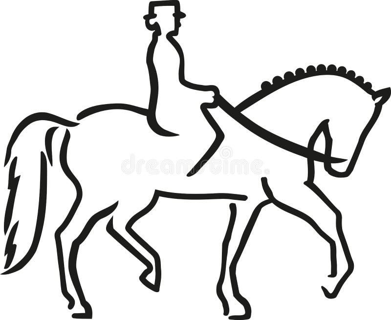 Dressuurpaard met ruiter stock illustratie