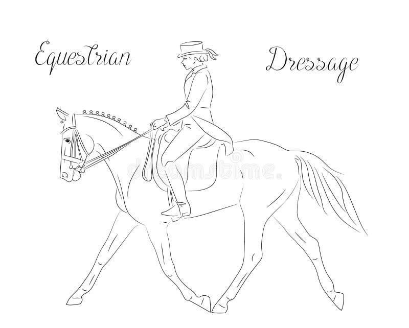 Dressyrhäst med ryttaren som utför snabb trott, rid- sport stock illustrationer