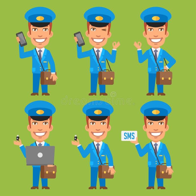 Drev för exponering för bärbar dator för brevbärareinnehavtelefon stock illustrationer
