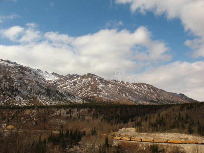 drev för järnväg för alaska denalinationalpark arkivbild
