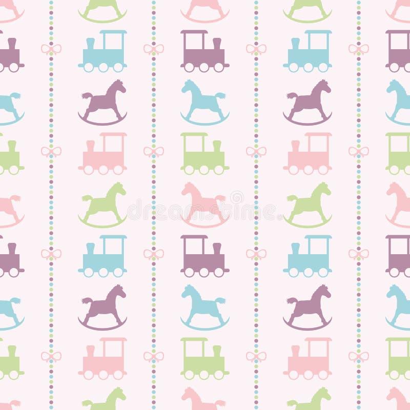 Drev och färgrikt behandla som ett barn vagga hästmodellen stock illustrationer
