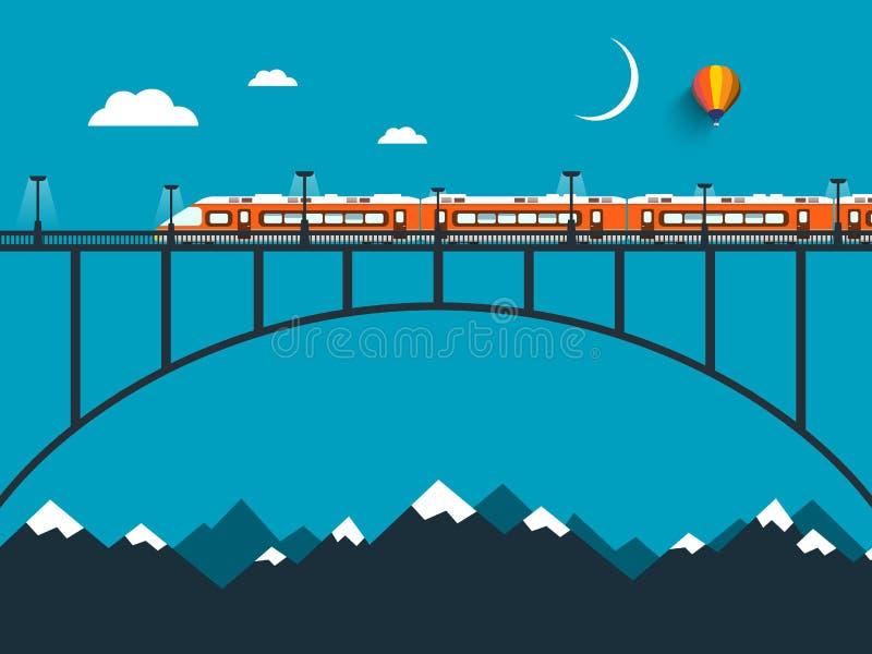 Drev på bron över bergen vektor illustrationer
