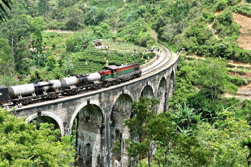 Drev på den Demodara för nio bågar bron royaltyfria bilder