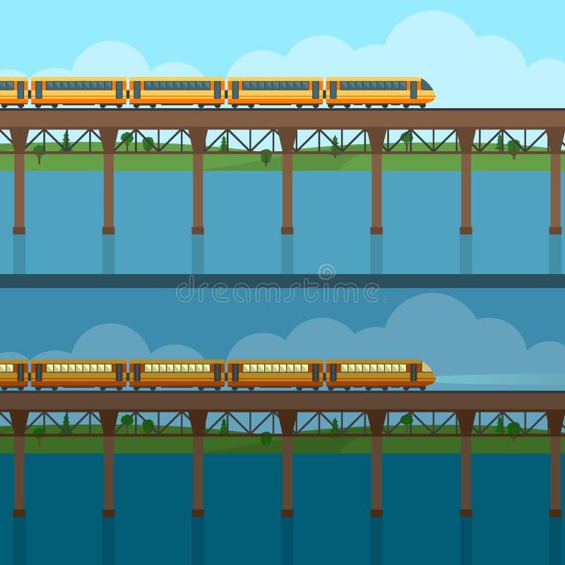 Drev på järnväg och bron vektor illustrationer