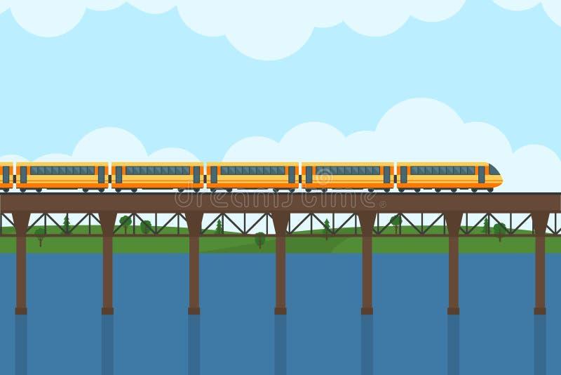 Drev på järnväg och bron stock illustrationer