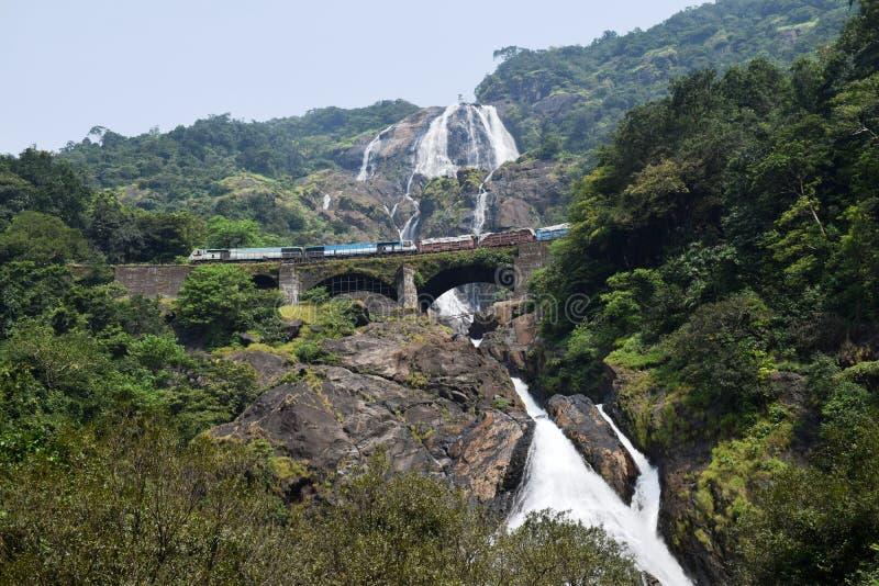 Drev som korsar bron över majestätiska Dudhsagar vattenfall arkivbild